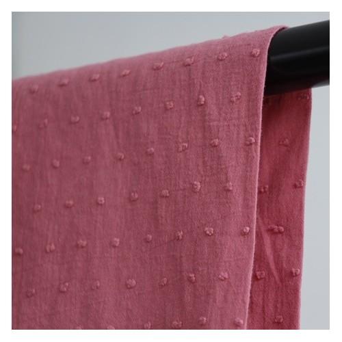 coton plumetis rose
