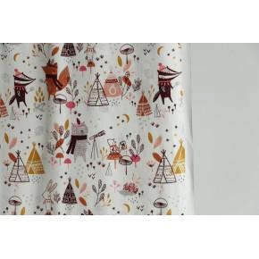 tissu coton tipi et animaux de la forêt