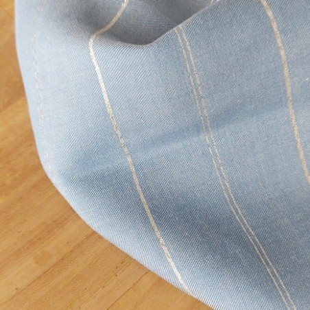 tissu viscose denim jean stoned et rayures argentées