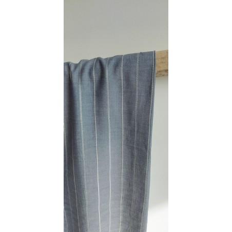tissu viscose bleue et rayures argentées
