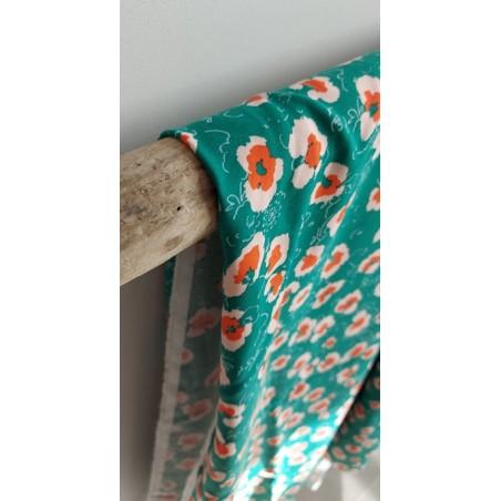 viscose à fleurs verte et orange