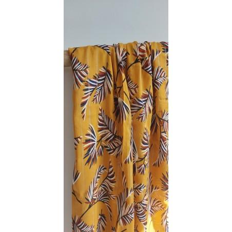viscose palmier moutarde avec rayures lurex