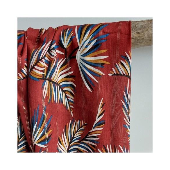 tissu viscose imprimé feuilles palmiers fond rouille