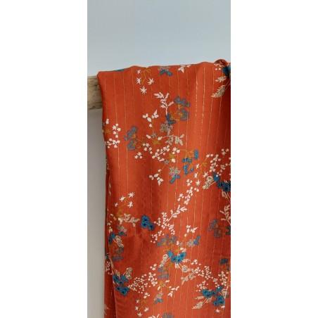tissu viscose à fleurs rouille