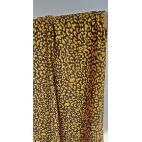tissu viscose leopard ocre et noir