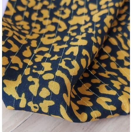tissu viscose imprimé leopard et rayures lurex