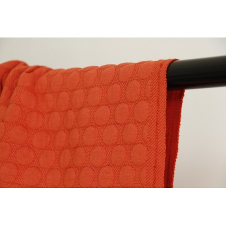 tissu jersey matelassé pois orange