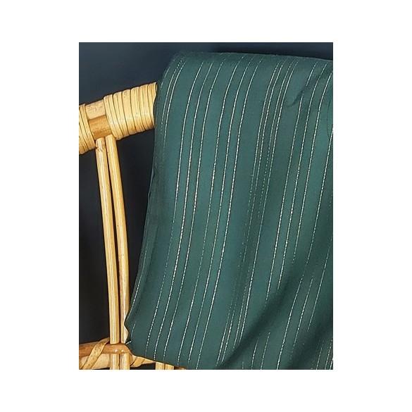 tissu viscose rayures lurex - vert