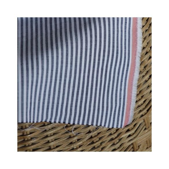 tissu coton à rayures marines