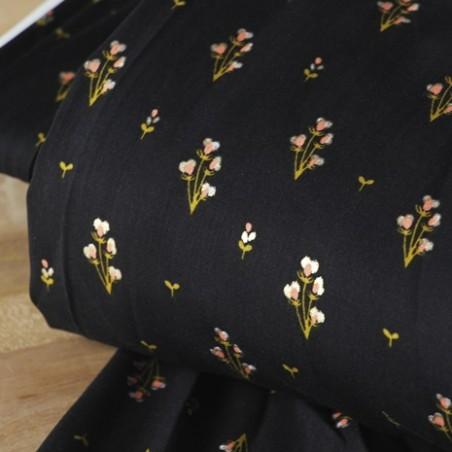 TISSU viscose bouquet noir