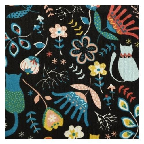 velours milleraies imprimé chats et fleurs