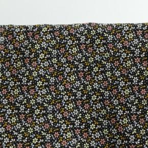 tissu velours milleraies noir à fleurs