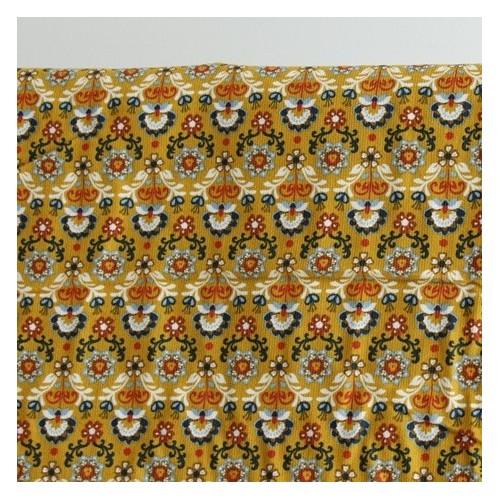 tissu velours milleraies fleurs moutarde