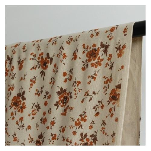 tissu velours beige fleurs orange