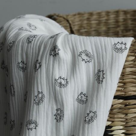 double gaze coton blanc imprimé enfants