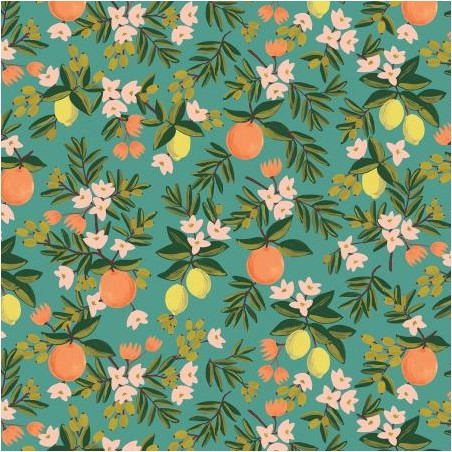citrus floral teal - rifle paper co
