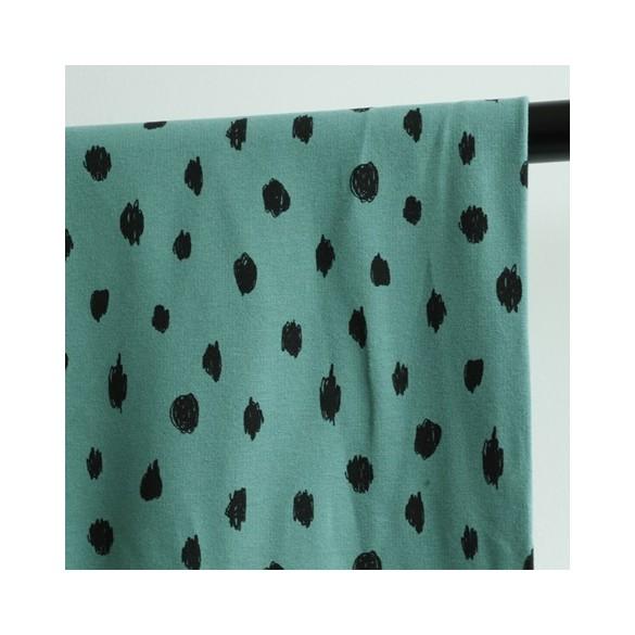 molleton bio painted dots - vert