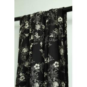 tissu viscose fleurs noir et beige