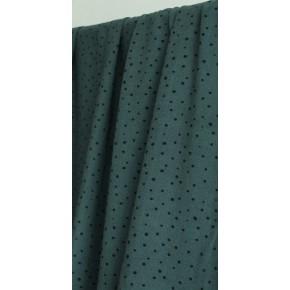 tissu viscose vert et pois noirs