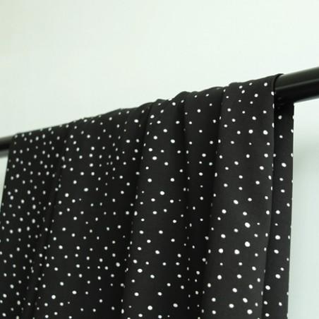 tissu viscose pois noir et blanc