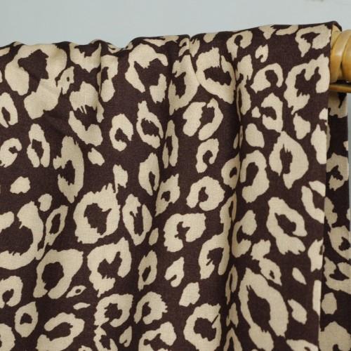 tissu viscose léopard marron et beige