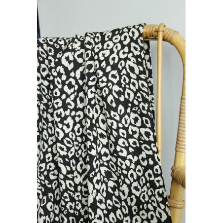 tissu imprimé léopard noir et blanc