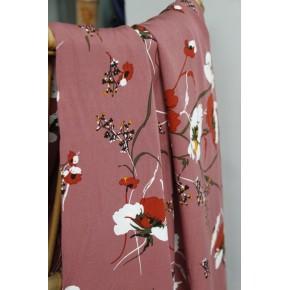 tissu fluide à fleurs rose
