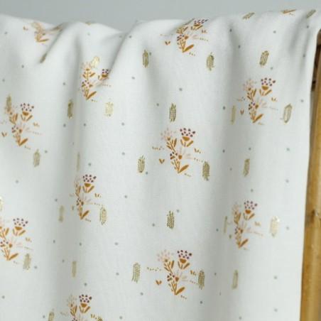 tissu viscose bouquet lurex écru