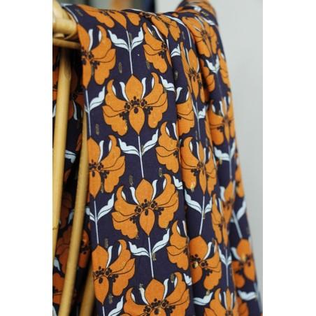 tissu viscose imprimé fleurs vintage marine et orange