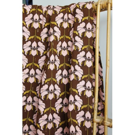 tissu viscose fleurs vintage et lurex doré