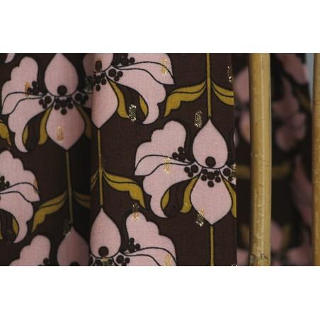 viscose imprimé fleurs et rectangles lurex