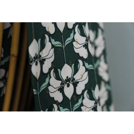 viscose fleurs vert et rose et lurex