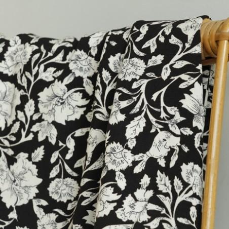 viscose à fleurs indiennes noir et blanc