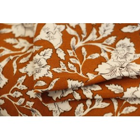 tissu viscose fleurs ocre et blanc