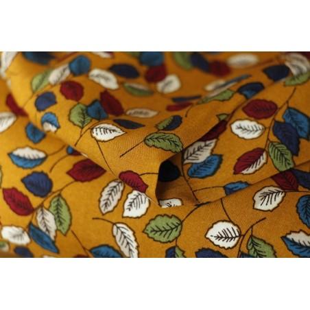 tissu viscose feuilles automnales