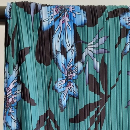 tissu plissé fleurs vert