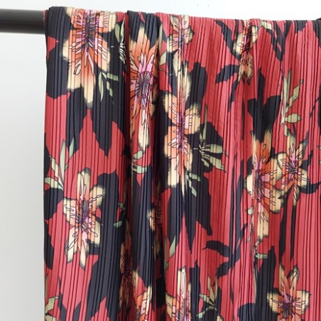 tissu plissé fleurs rouille