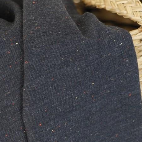 tissu sweat moucheté bleu