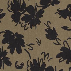 tissu tencel oekotex fleurs - kaki