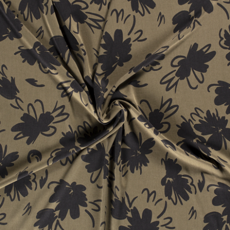 tencel fleurs kaki et noir