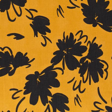 tencel imprimé fleurs jaune
