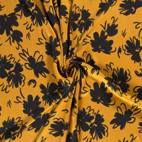 tencel jaune fleurs noires