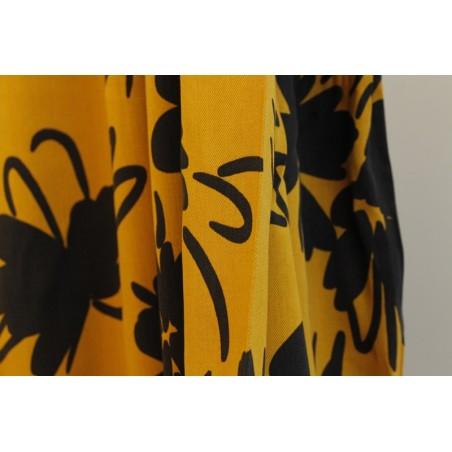 tissu tencel imprimé fleurs jaune