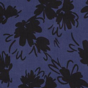 tencel bleu fleurs noires