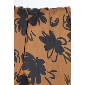 tencel imprimé grandes fleurs caramel et noir