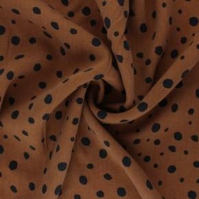 tissu tencel imprimé caramel à pois noirs