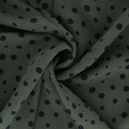 tissu tencel kaki imprimé pois noirs