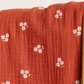 tissu double gaze sweet flower - terracotta