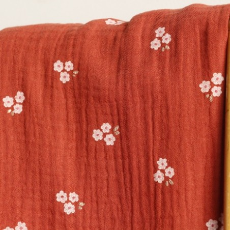 tissu double gaze sweet flower - terracotta