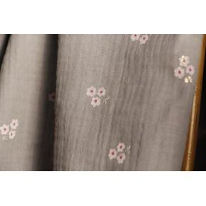 double gaze coton imprimé fleurs